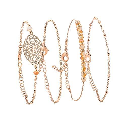 Braided Tassel Gold (AOASK Layered Bracelet Set Heart Leaf Beaded Tassel Braided Wax Rope Wrap Bangle Jewelry (Beaded))