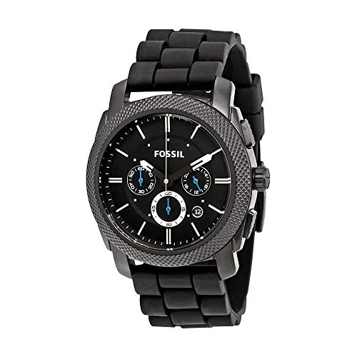 Fossil Mens Chronograph - Fossil Men's Machine Quartz Stainless Steel and Silicone Chronograph Watch, Color: Black (Model: FS4487)