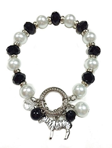 (Linpeng BR-2476A Bracelets for Women, Crystal and Pearl Beads Stretch Bracelet with Black White Beaded Dangles & Painted Zebra Charm, Length 7.5