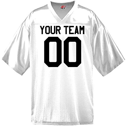 Custom Football Jersey for Youth and Adult you Design Online in Adult 2X-Large in White (Youth Waist Length Football Jersey)