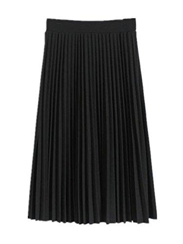 Mousseline Dcontracte Longue Femme Mi Jupe Jupe Jupe BESTHOO Jupe Pliss Haute Unie Couleur Jupe Jupe Black En Taille qZF7twP7Ex