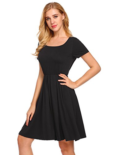 pasttry Women's Casual Solid Long Sleeve Empire Waist Knee Length Fit and Flare A-Line Midi Swing Dress Black XXL (Sleeve Dress In Empire Black Short)