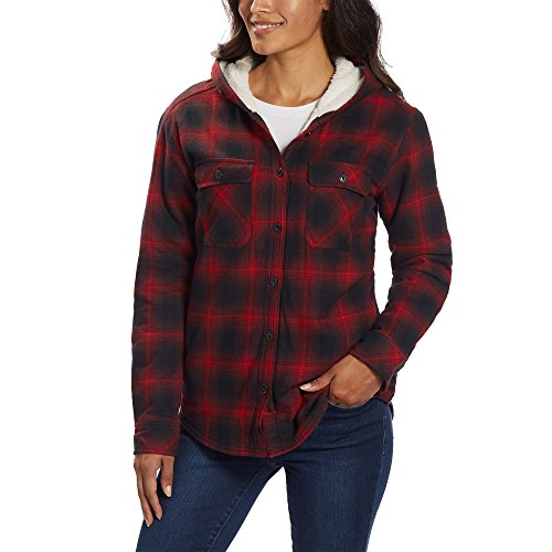 Boston Trader Ladies' Sherpa Lined Hooded Flannel (2XL, - Outlet Boston Shopping