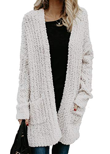 HZSONNE Womens' Boho Fuzzy Knitted Cardigan Chunky Sweater Sherpa Fleece Pointelle Full Sleeve Blouse (White, Medium)