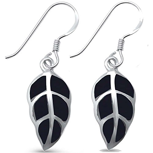 Drop Diamond And Earrings Onyx (Sterling Silver Simulated Black Onyx Leaf Earrings)