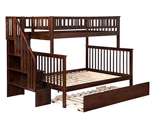 (Woodland Staircase Bunk Bed with Urban Trundle, Antique Walnut, Twin Over Full)