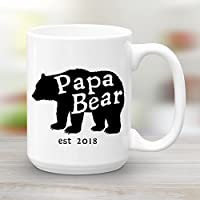 Papa Bear est 2018, Father s Day Gift, Large 15 oz Ceramic Coffee Mug