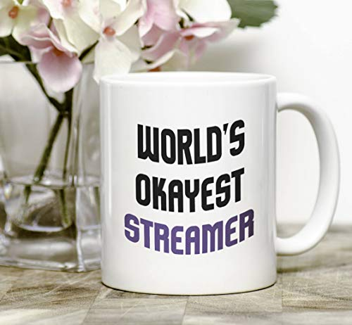 Streamer Mug Gift - World's Okayest Streamer - Coffee & Tea 11 Ounce Mug Gift for Gamers Twitch YouTube Streamers Ideas]()