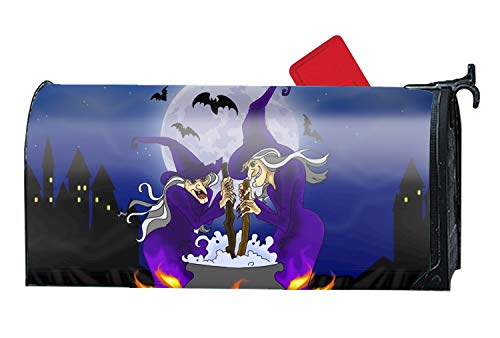 Taocaihop Halloween Witch Mailbox Cover - Mailbox Makeover - Vinyl Magnetic Cover 9