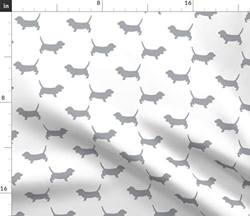 Spoonflower Basset Hound Fabric - Dog Dog Fabric Dog Breed Silhouette Pet Pet Fabric Print on Fabric by The Yard - Chiffon for Sewing Fashion Apparel Dresses Home Decor