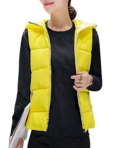 Womens Warm Hooded Full Zipper Tops Sleeveless Down Jacket Coat Vest Outwear With Pocket Yellow