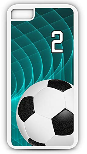 iPhone 6s Case Soccer SC048Z Choice of Any Personalized Name or Number Tough Phone Case by TYD Designs in White Plastic and Black Rubber with Team Jersey Number 2
