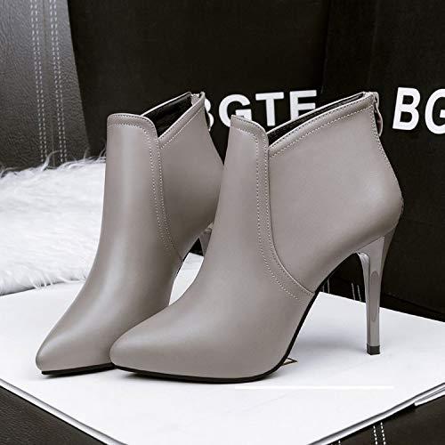 Elegante E Estilete Invierno Yukun Temperamento Impermeable Gray alto Tacón de Delgado Salvaje zapatos Otoño Alto Zapatos Vestido tacón De qqr7zwOv