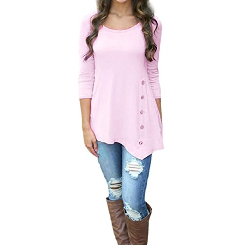 Leather Trim Candy (Women's Long Sleeve T-Shirt,Toponly Autumn Spring Long Sleeve Loose Button Trim Blouse Solid Color Round Neck Tunic T-Shirt For Women White/Pink (FASHION pink, XL))