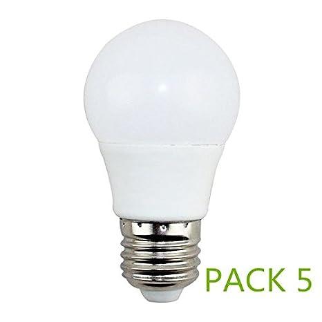 Bombilla LED E27 5w Fria 6000k (Pack5) Ángulo270º Lúmenes 400lm: Amazon.es: Iluminación