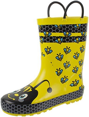 Rainbow Daze Kids Rain Boots with Easy on Handles, Fun Prints,Waterproof,Unisex Boots,Little Kid 11/12, Yellow ()