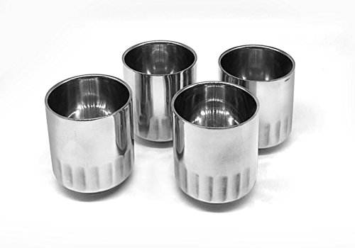 7 Ounce Tall Teacup - KCHAIN 4PCS Stainless Steel Double Walled Cups 7oz (Cylindrical)