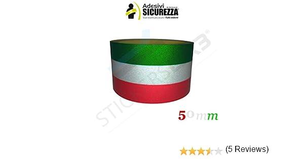 StickersLab-banda adhesiva tricolor banda reflectante, diseño con bandera de Italia, 25/50 mm-5 cm, 1 m: Amazon.es: Coche y moto
