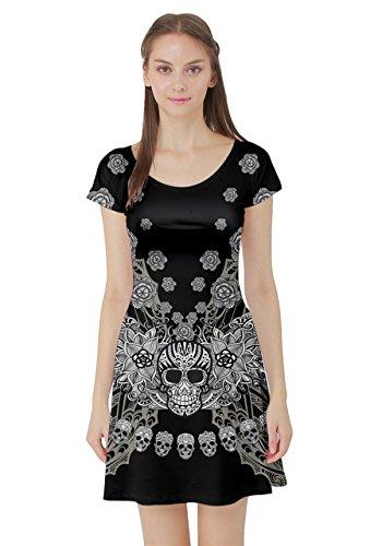 Cowcow Femmes Floral Sucre Robe Patineuse À Manches Courtes Grunge Du Crâne, Xs-5xl Têtes De Crâne Noir