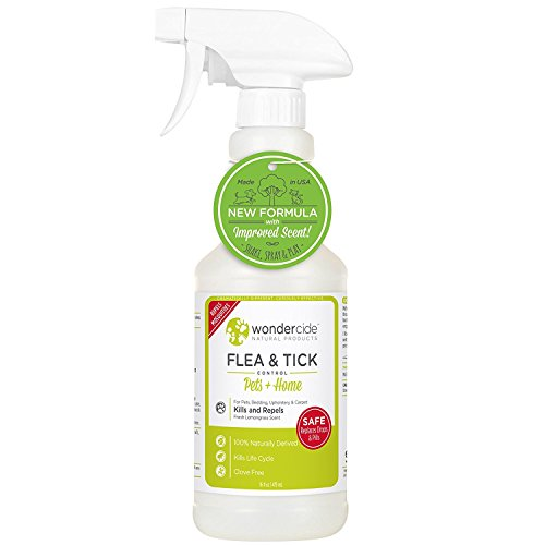 Wondercide Flea and Tick and Mosquito Control Spray for Cats Dogs and Home - Lemongrass - 16 oz (Organic Flea Control)