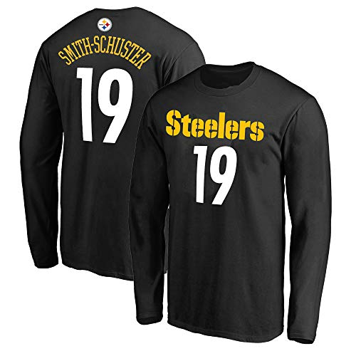 Pittsburgh Steelers Black Crew Shirt - Outerstuff NFL Youth Team Color Mainliner Player Name and Number Long Sleeve Jersey T-Shirt (Small 8, Juju Smith-Schuster Pittsburgh Steelers Black)
