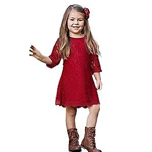 APRIL GIRL Flower Girl Dress, Lace Dress 3/4 Sleeve Dress