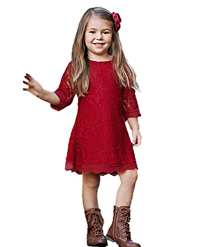 Flower Girl Dress, Lace Dress 3/4 Sleeve Dress (Red, 9-10 Years)
