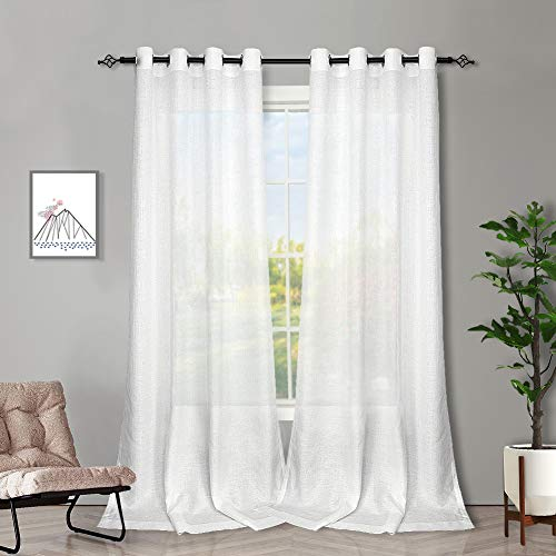 Melodieux White Semi Sheer Curtains 84 Inches Long for Living Room - Linen Look Bedroom Grommet Top Voile Drapes, 52 x 84 Inch (2 Panels) (White Set Panel Curtain)