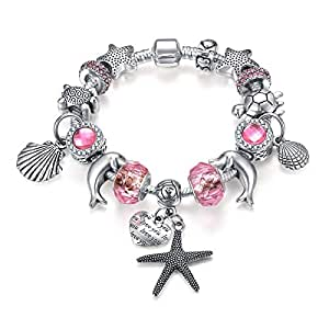 Pandora Style Fashion Charm Bracelet for Girls and Women with Marine Element Themed Pink Charms 7.1 Inches, Silver Plated