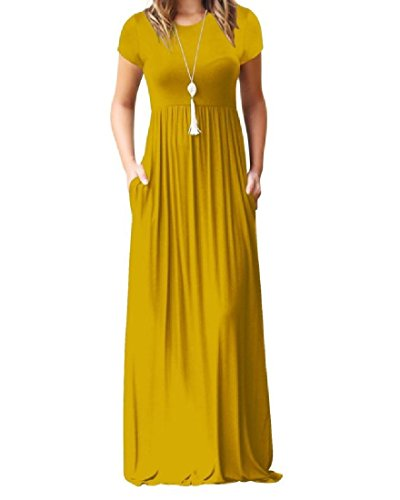Exotic Casual Dress Coolred Women Evening Color Yellow Pure Short Party Empire Sleeve Waist Pocket T1YATwq