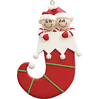 877ab8ed9b3c2 Personalized Elf Couple Christmas Ornament for Tree 2018 - Two in Glitter Hat  Jingle Bell Curvy