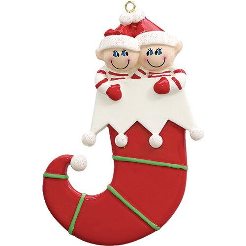 - Personalized Elf Couple Christmas Tree Ornament 2019 - Two Glitter Hat Jingle Bell Curvy Stocking Our 1st Together First Best Friend Sibling Twins Grandkid Cute Elves Year - Free Customization