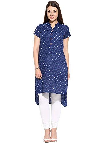 Womens Kurtas - Evam Navy All Over Print Cotton-Cambric Long Kurta, Large, Navy