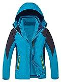 YXP Women's Waterproof Rain Jacket Windproof Fleece Ski Jacket(Acid Blue,L)