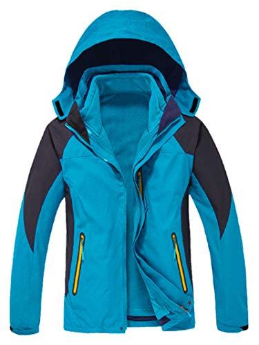 GEMYSE Men's Waterproof Ski Jacket Double Layer Fleece Jacket(Acid Blue,M)