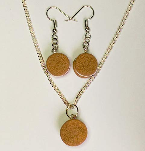 Oatmeal Creme Pie Earrings and Necklace Set Faux