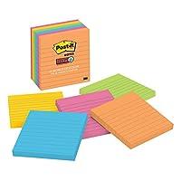 Notas adhesivas súper post-it, colores de Río de Janeiro, 2 veces el poder de pegado, ideal para recordatorios, reciclable, 4 pulg. X 4 pulg., 6 almohadillas /paquete, 90 hojas /almohadilla (675-6SSUC)
