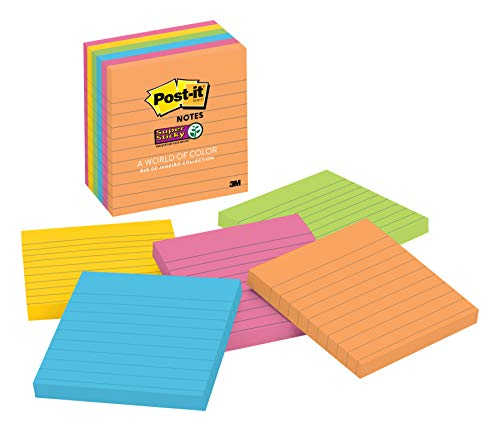 (Post-it Super Sticky Notes, Bright Neons, Sticks and Resticks, Recyclable, 4 in. x 4 in, 6 Pads/Pack, 90 Sheets/Pad (675-6SSUC))