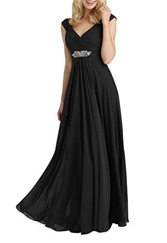 H.S.D Women's A Line V Neck Chiffon Long Mother Of The Bride Dress Evening Gowns