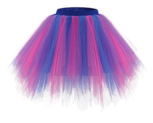 Bridesmay Women's Tutus Tulle Skirt 50s Vintage Petticoat Ballet Bubble Skirts Royal Blue-Fuchsia XL