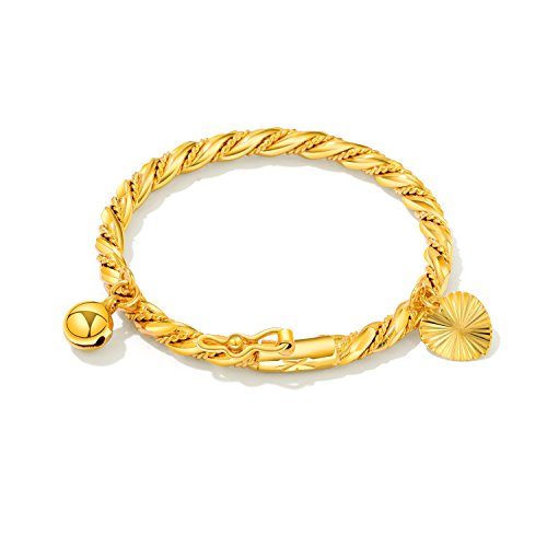 OPK Jewelry 18k Gold Plated Children's Bangle Heart Bell Pendant Rope Chain Gold Bracelets 4.33 ()