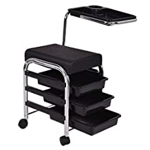 Pedicure Manicure Nail Cart Trolley Stool Chair Salon SPA With Shelves Black Item Ways