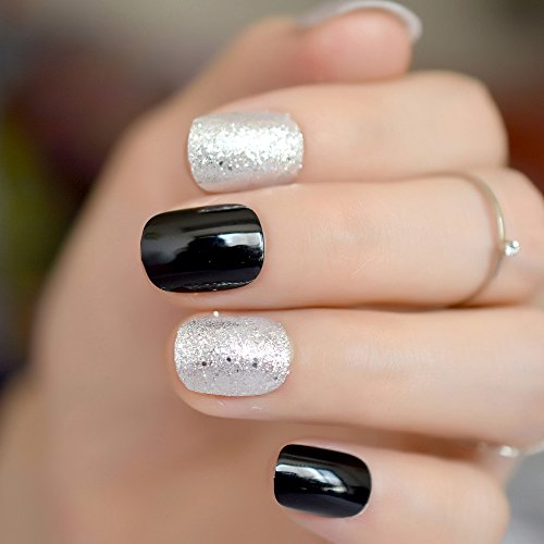 CoolNail Sparkly Silver Glitter False Nails Short Classic