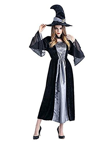 Size 28 Witch Costume (M_Eshop Halloween Women's Gothic Classic Witch Costume (Grey))