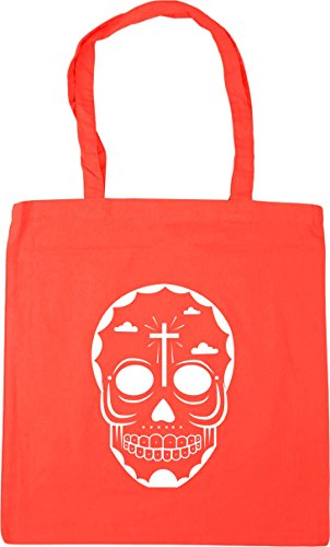 HippoWarehouse skull 6 Tote Shopping Gym Beach Bag 42cm x38cm, 10 litres Coral