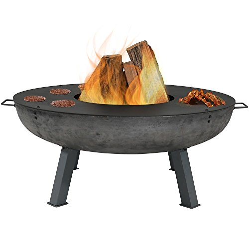 Sunnydaze Large Outdoor Fire Pit Bowl with Cooking Ledge, Wood Burning Fireplace, 40 Inch - For Patio, Backyard, and Camping - Ledge Outdoor Fire Pit