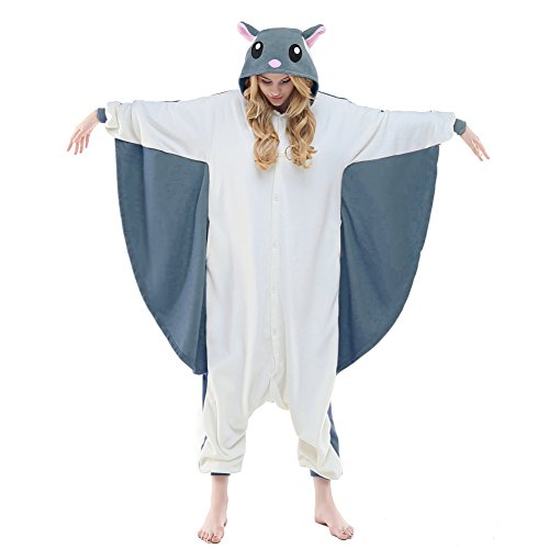 NEWCOSPLAY Adult Unisex Flying Squirrel Onesie Pajama Costume (XL, Gray Flying Squirrel)