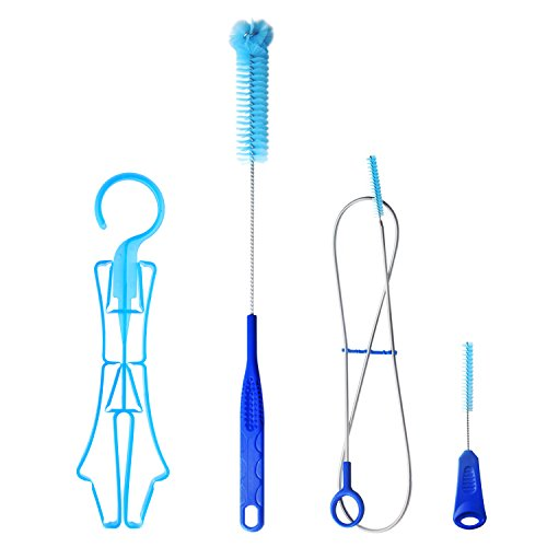 TAGVO Kids Hydration Bladder Cleaning Kit, 4 in 1 Water Reservoir Cleaning Brush, Small Collapsible Hanger for Mini Reservoir - Flexible Long Brush - Small Brush - Big Brush ()