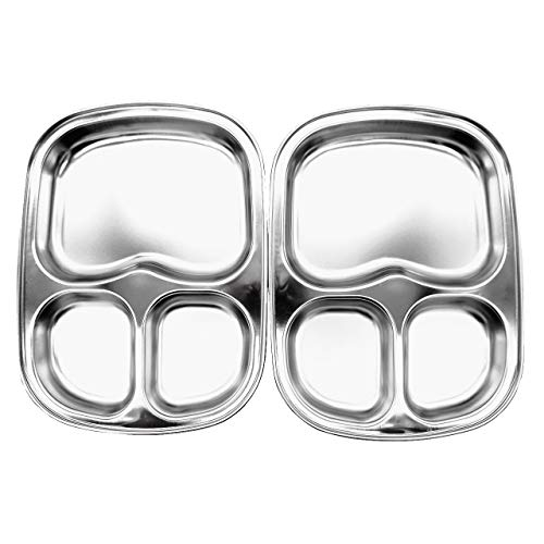 (Stainless Steel Divided Plates by KS&E, Kids Toddlers Babies Tray, BPA Free, Diet Food Control, Camping Dishes, Compact Serving Platter, Dinner Snack, 3 Compartment Plate Silver, Set of 2)