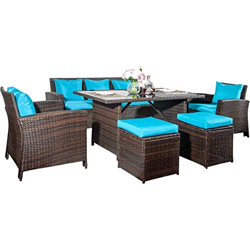 Dining Table Set Outdoor (Merax 6-Piece Patio Furniture Dining Set Outdoor Living Wicker Sofa Set (Blue Cushion))